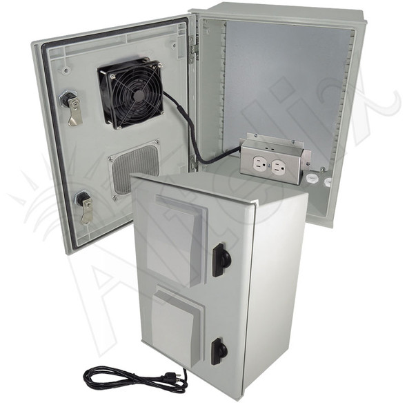 Altelix 16x12x8 Vented Fiberglass Weatherproof NEMA Enclosure with Cooling Fan, 200W Heater, 120 VAC Outlets & Power Cord