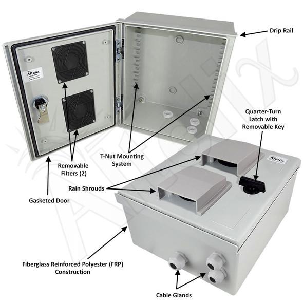 Altelix 12x10x6 Vented Fiberglass FRP Weatherproof Equipment Enclosure