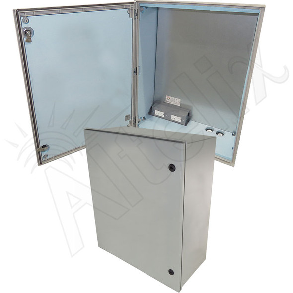 Altelix 32x24x12 Insulated NEMA 4X Fiberglass Heated Weatherproof Enclosure with Equipment Mounting Plate, 400W Heater & 120 VAC Outlets