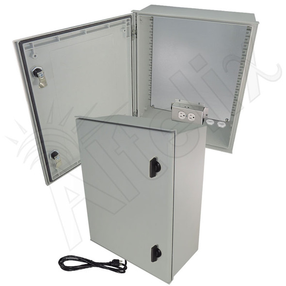 Altelix 20x16x8 Fiberglass FRP NEMA 4X / IP66 Heated Weatherproof Equipment Enclosure with Equipment Mounting Plate and 120VAC Outlets & Power Cord