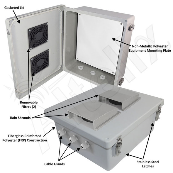 Altelix 14x12x6 Fiberglass Indoor / Outdoor RF Transparent WiFi Access Point NEMA Enclosure with Non-Metallic Equipment Mounting Plate