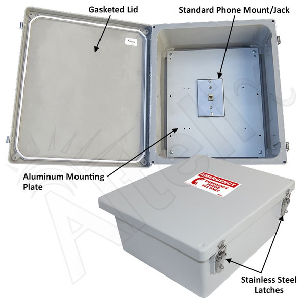 Altelix 14x12x6 Fiberglass NEMA 4X Outdoor Weatherproof Telephone Emergency Call Box