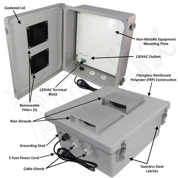 Altelix 14x12x6 Fiberglass Weatherproof Vented WiFi NEMA Enclosure with 120 VAC Outlets & Power Cord