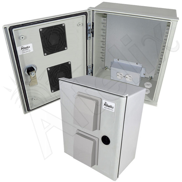 Altelix 12x10x6 Vented Fiberglass Weatherproof NEMA Enclosure with Equipment Mounting Plate & 120 VAC Outlets