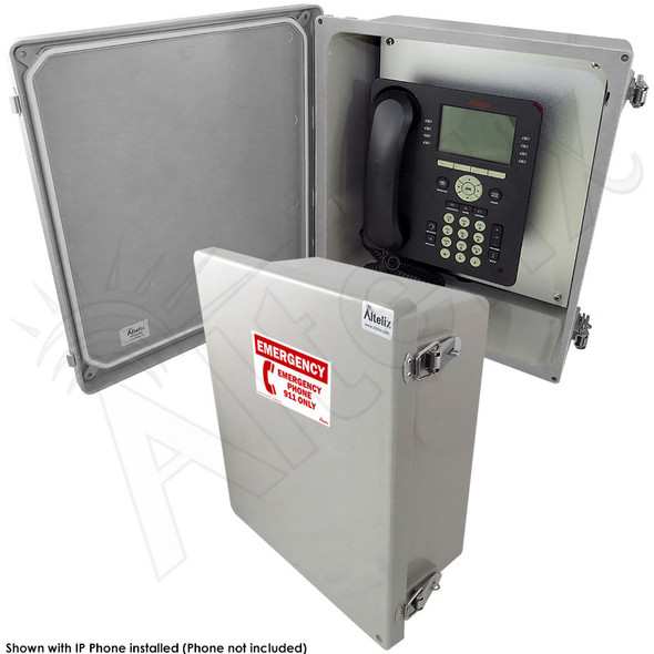 Altelix 14x12x6 NEMA 4X Fiberglass Outdoor Weatherproof IP Telephone Call Box with Emergency Phone Label