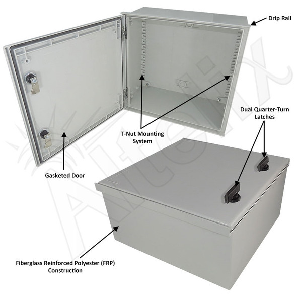 Altelix 16x16x8 Fiberglass FRP NEMA 3x / IP65 Weatherproof Equipment Enclosure