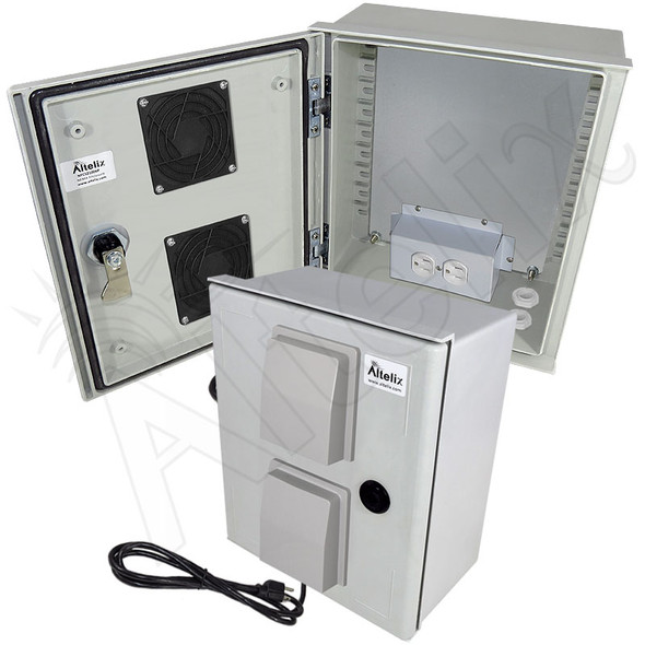Altelix 12x10x6 Vented Fiberglass Weatherproof NEMA Enclosure with Equipment Mounting Plate, 120 VAC Outlets & Power Cord