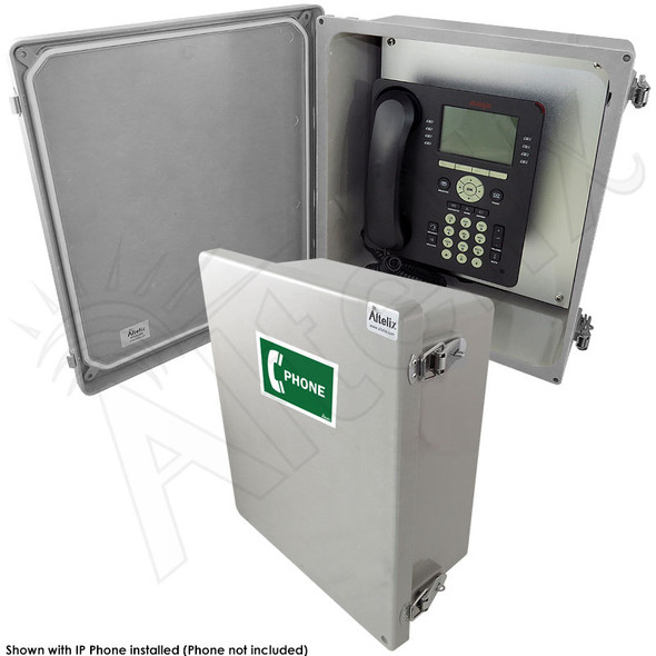 Altelix 14x12x6 NEMA 4X Fiberglass Outdoor Weatherproof IP Telephone Call Box with Service Phone Label