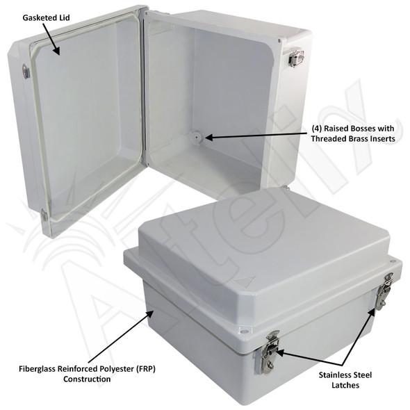 Altelix 14x12x8 FRP Fiberglass Weatherproof NEMA 4X Enclosure NEMA Box