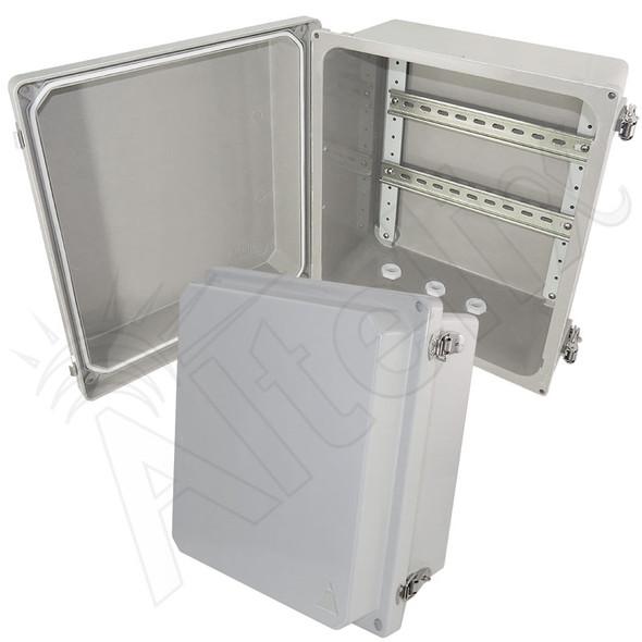 Altelix 14x12x8 Industrial DIN Rail Enclosure Fiberglass NEMA 4X IP66
