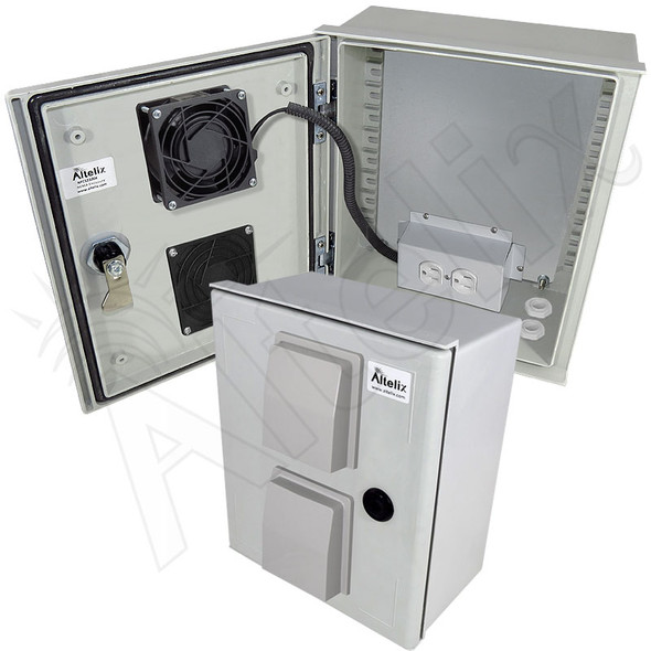 Altelix 12x10x6 Vented Fiberglass Weatherproof NEMA Enclosure with 120 VAC Outlets & 85°F Turn-On Cooling Fan