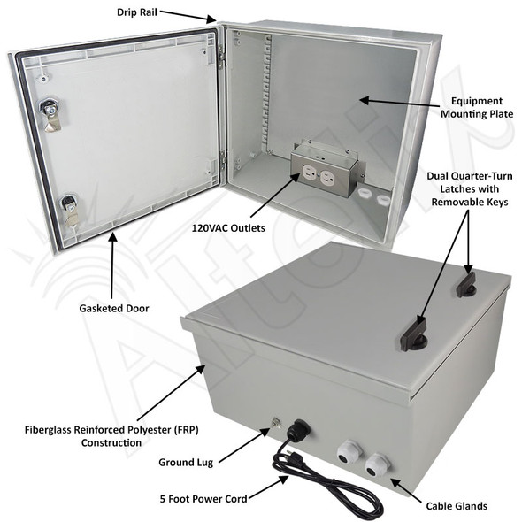 Altelix 16x16x8 Fiberglass FRP NEMA 3x / IP65 Weatherproof Equipment Enclosure with Steel Equipment Mounting Plate and 120VAC Outlets and Power Cord