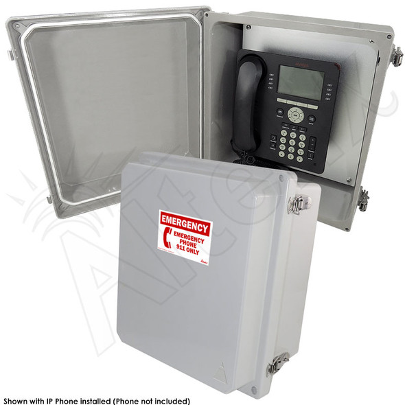 Altelix 14x12x8 NEMA 4X Fiberglass Outdoor Weatherproof IP Telephone Call Box with Emergency Phone Label