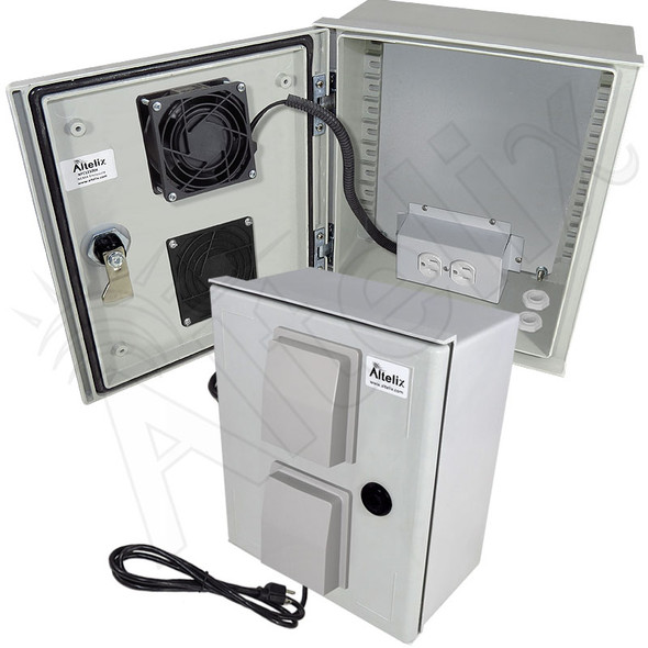Altelix 12x10x6 Vented Fiberglass Weatherproof NEMA Enclosure with Cooling Fan and 120 VAC Outlets & Power Cord