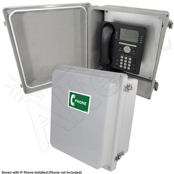 Altelix 14x12x8 NEMA 4X Fiberglass Outdoor Weatherproof IP Telephone Call Box with Service Phone Label