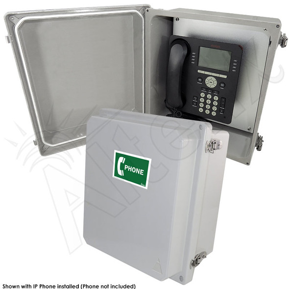 Altelix 14x12x8 NEMA 4X Fiberglass Outdoor Weatherproof IP Telephone Call Box with Service Phone Label