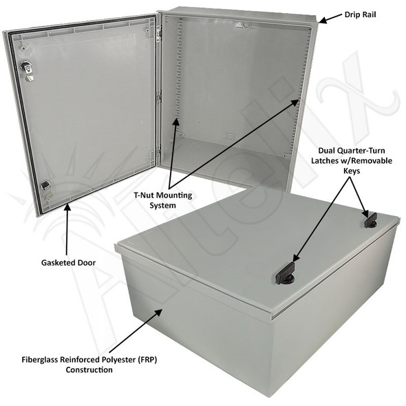 Altelix 24x20x9 Fiberglass FRP NEMA 3x / IP65 Weatherproof Equipment Enclosure