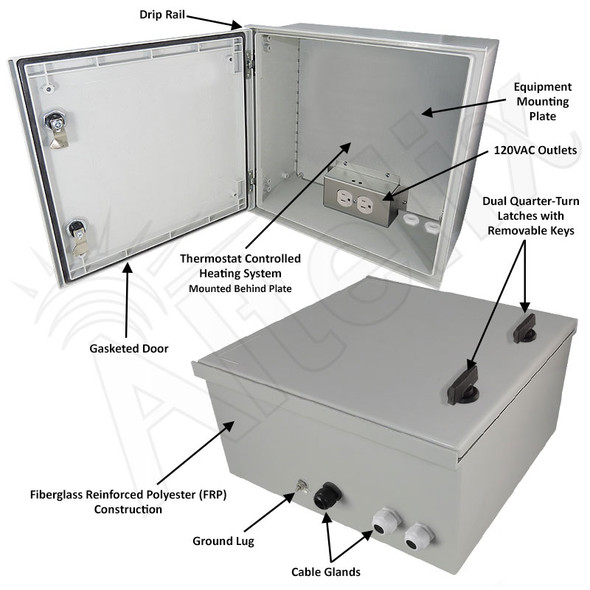 Altelix 16x16x8 Fiberglass FRP NEMA 4X / IP66 Heated Weatherproof Equipment Enclosure with Equipment Mounting Plate and 120VAC Outlets