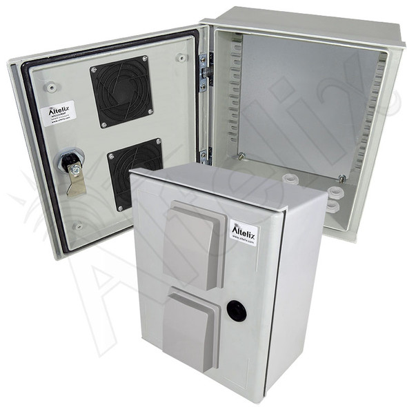 Altelix 12x10x6 Vented Fiberglass FRP Weatherproof Equipment Enclosure with Blank Steel Equipment Mounting Plate