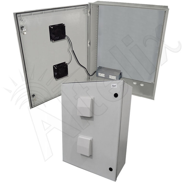 Altelix 32x24x12 Vented Fiberglass Weatherproof NEMA Enclosure with Dual Cooling Fans and 120 VAC Outlets