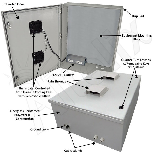 Altelix 32x24x12 Vented Fiberglass Weatherproof NEMA Enclosure with 120 VAC Outlets & 85°F Turn-On Cooling Fan
