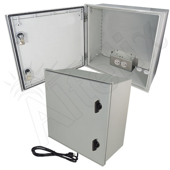 Altelix 16x16x8 Fiberglass FRP NEMA 4X / IP66 Heated Weatherproof Equipment Enclosure with Equipment Mounting Plate and 120VAC Outlets and Power Cord