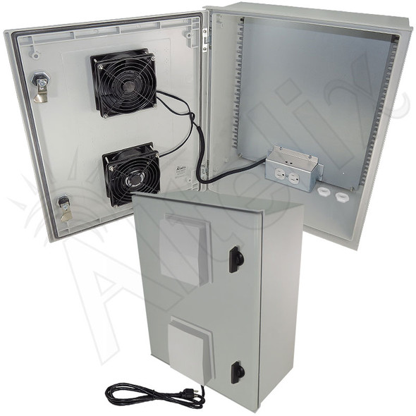 Altelix 20x16x8 Vented Fiberglass Weatherproof NEMA Equipment Enclosure with Dual Cooling Fans and 120VAC Outlets and Power Cord