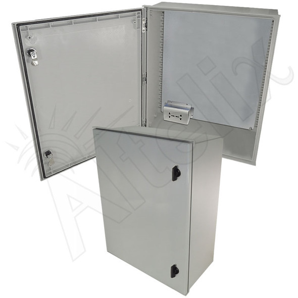Altelix 24x20x9 NEMA 3X Fiberglass Weatherproof Enclosure with Equipment Mounting Plate & 100-240 VAC Universal Power Outlet