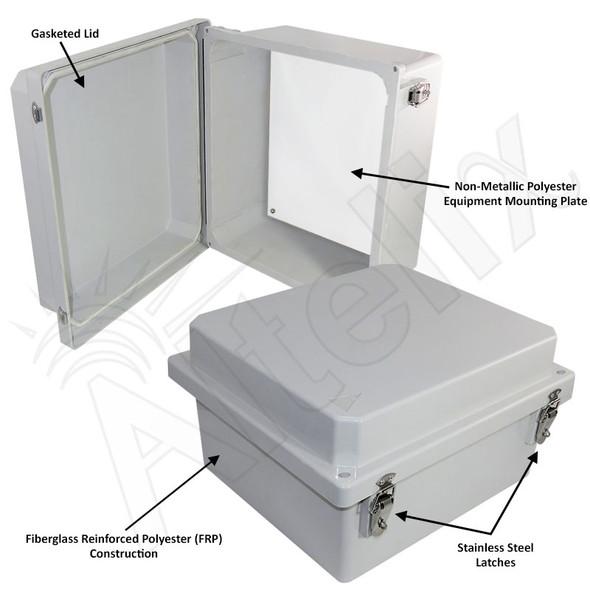 Altelix 14x12x8 NEMA 4X Fiberglass Indoor / Outdoor RF Transparent WiFi Access Point Enclosure with Non-Metallic Equipment Mounting Plate