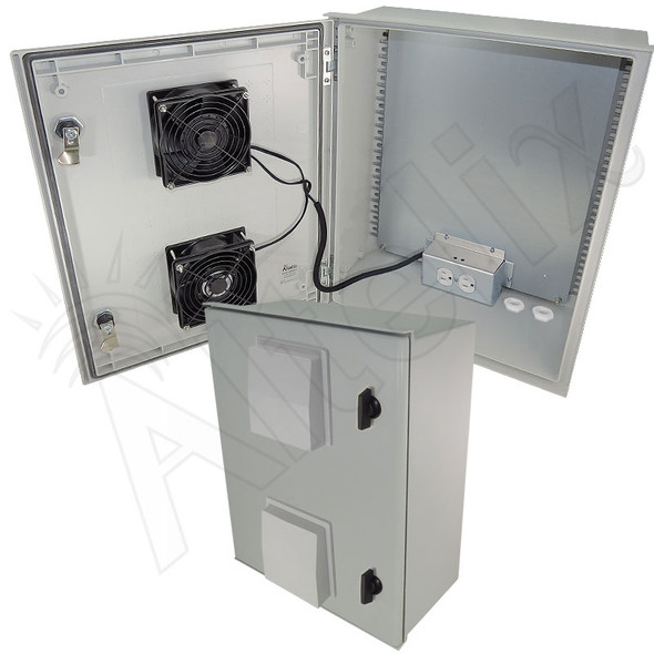 Altelix 20x16x8 Fiberglass Heated Weatherproof NEMA Equipment Enclosure with 400W Heater, Dual Cooling Fans and 120VAC Outlets