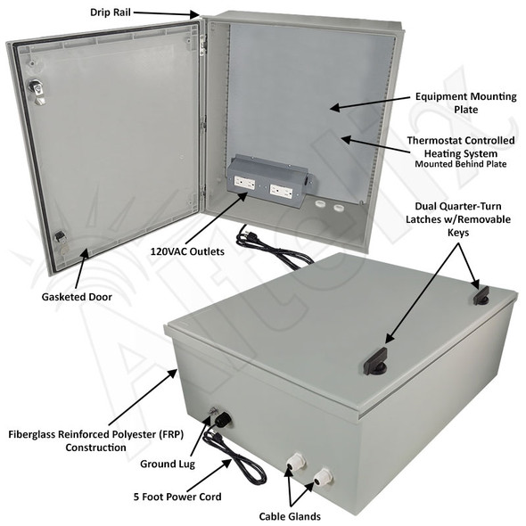 Altelix 24x20x9 NEMA 4X Fiberglass Heated Weatherproof Enclosure with Equipment Mounting Plate, 120 VAC Outlets and Power Cord
