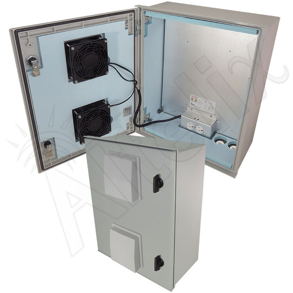 Altelix 20x16x8 Vented Insulated Fiberglass Heated Weatherproof NEMA Enclosure with Dual Cooling Fans, 200W Heater and 120 VAC Outlets