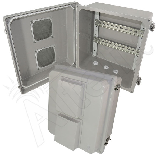 Altelix 14x12x8 Vented Industrial DIN Rail Fiberglass Enclosure