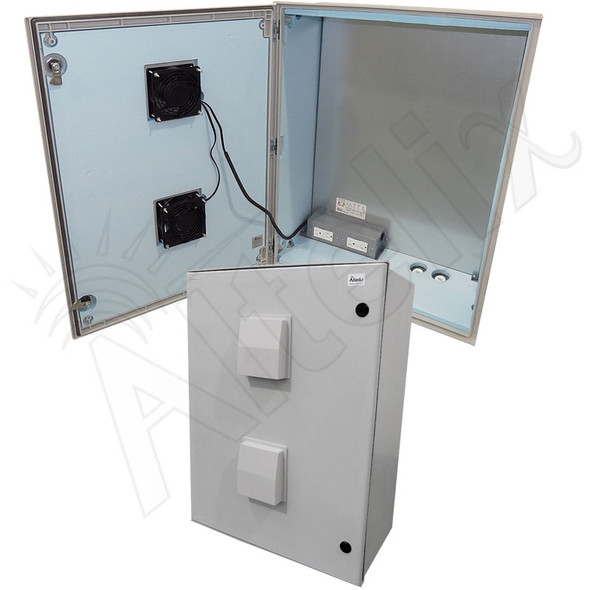 Altelix 32x24x12 Vented Insulated Fiberglass Heated Weatherproof NEMA Enclosure with Dual Cooling Fans, 800W Heater and 120 VAC Outlets