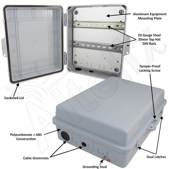 Altelix 14x11x5 Polycarbonate + ABS Weatherproof DIN Rail NEMA Enclosure