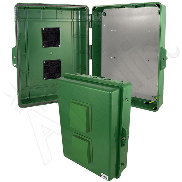 Altelix 17x14x6 Inch Green Polycarbonate + ABS Vented Weatherproof NEMA Enclosure with Aluminum Mounting Plate