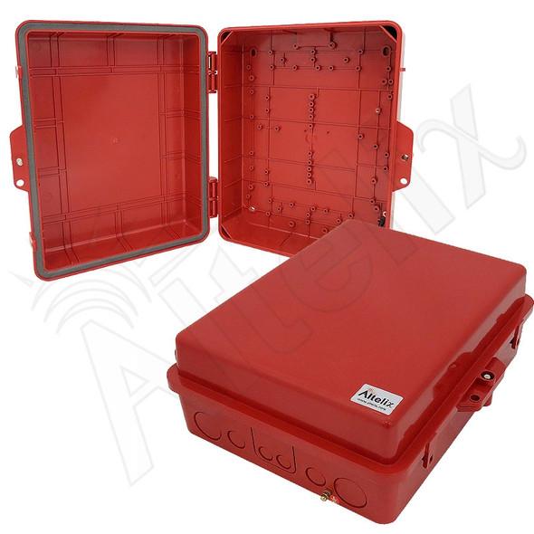 Altelix 14x11x5 IP55 NEMA 3R PC+ABS Plastic Weatherproof Red Utility Enclosure with Hinged Door