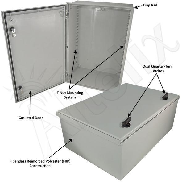 Altelix 24x16x9 Fiberglass FRP NEMA 3x / IP65 Weatherproof Equipment Enclosure