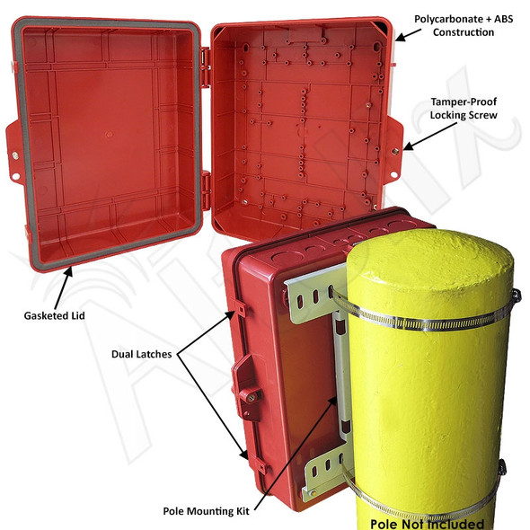 Altelix 14x11x5 Pole Mount Red PC+ABS Polycarbonate / ABS Weatherproof NEMA Enclosure