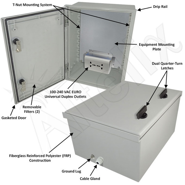 Altelix 16x12x8 NEMA 3X Fiberglass Weatherproof Enclosure with Equipment Mounting Plate & 100-240 VAC Universal Power Outlet