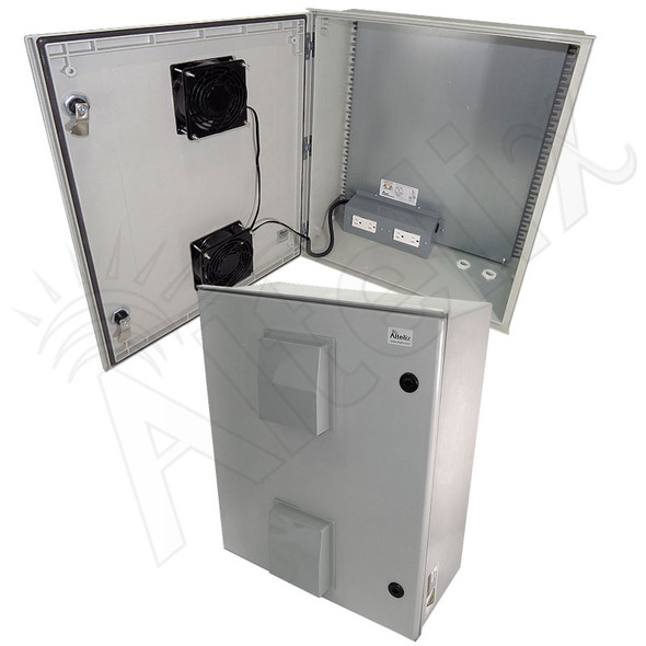 Altelix 24x20x9 Vented Fiberglass Weatherproof NEMA Enclosure with Dual Cooling Fans and 120 VAC Outlets