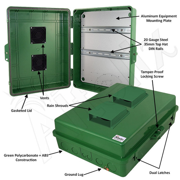 Altelix 17x14x6 Vented Green DIN Rail Polycarbonate + ABS Weatherproof NEMA Enclosure
