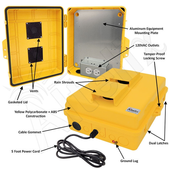 Altelix 14x11x5 Yellow Vented Polycarbonate + ABS Weatherproof NEMA Enclosure with Aluminum Mounting Plate, 120 VAC Outlets and Power Cord