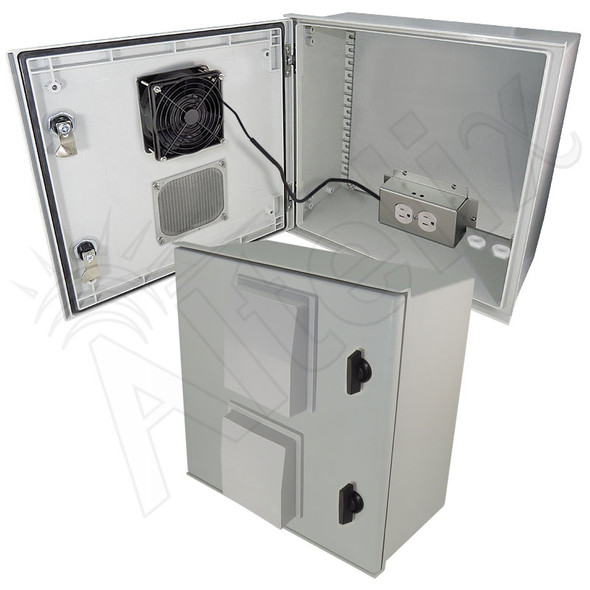 Altelix 16x16x8 Fiberglass FRP NEMA 3x / IP65 Weatherproof Equipment Enclosure with Cooling Fan, Equipment Mounting Plate and 120VAC Outlets