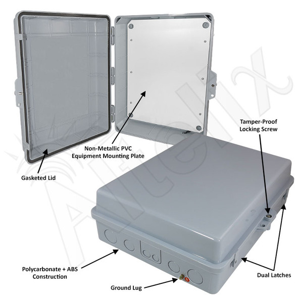 Altelix 17x14x6 Inch Polycarbonate + ABS Weatherproof WiFi NEMA Enclosure with Full Size Non-Metallic Equipment Mounting Plate