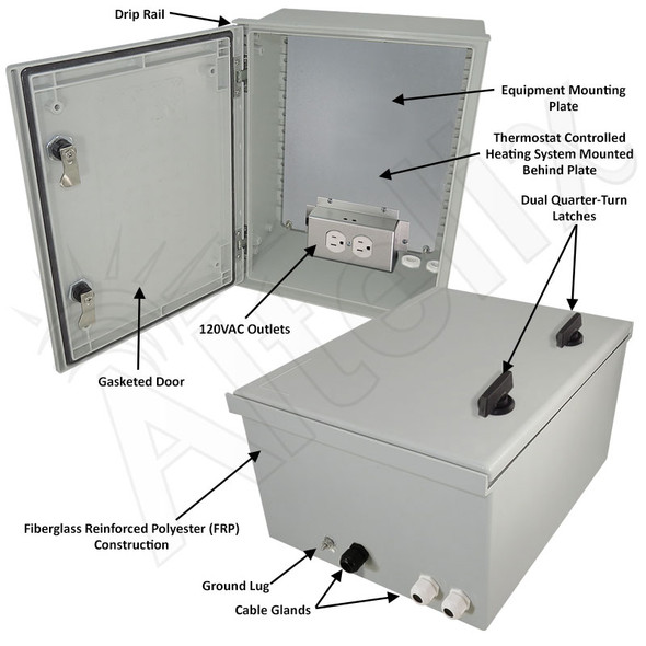 Altelix 16x12x8 Fiberglass FRP NEMA 4X / IP66 Heated Weatherproof Equipment Enclosure with Equipment Mounting Plate and 120VAC Outlets