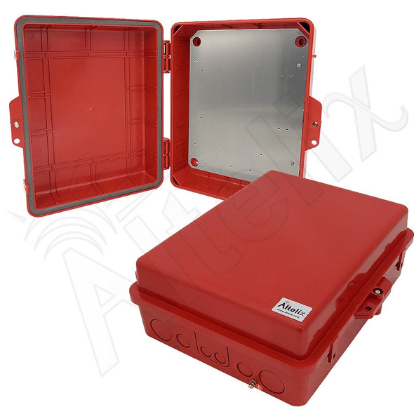 Altelix 14x11x5 Inch Red Polycarbonate + ABS Weatherproof NEMA Enclosure with Aluminum Mounting Plate
