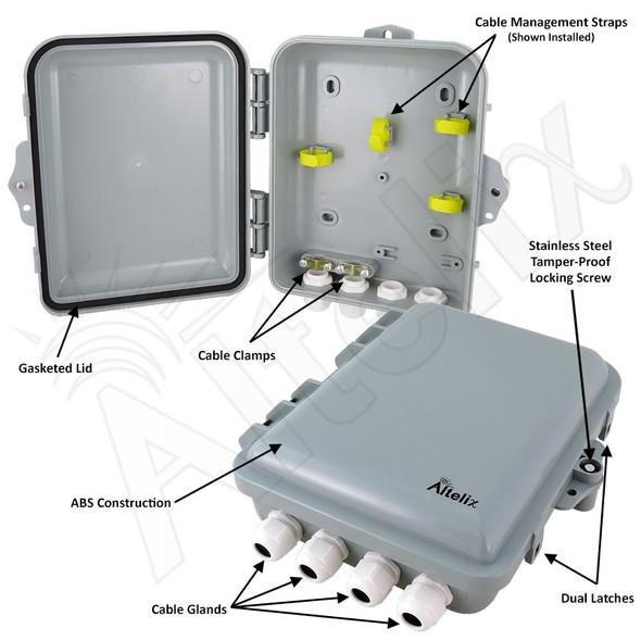 Altelix 9x8x3 IP66 NEMA 4X PC+ABS Plastic Weatherproof Utility Box with Hinged Door