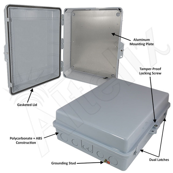 Altelix 17x14x6 Inch Polycarbonate + ABS Weatherproof NEMA Enclosure with Aluminum Mounting Plate