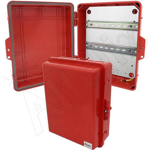 Altelix 14x11x5 Red DIN Rail Polycarbonate + ABS Weatherproof NEMA Enclosure